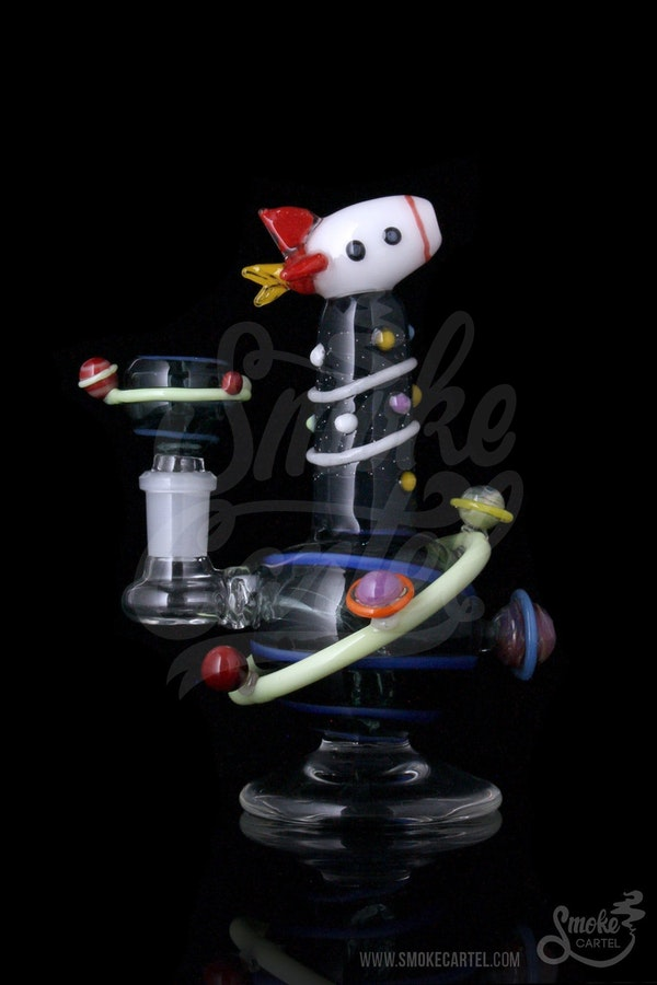 Empire Glassworks Rocket Ship Worked Mini Dab Rig With