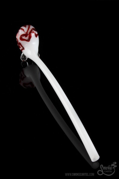 Long White Gandalf Style Pipe with Hearts - Smoke Cartel | Online Headshop