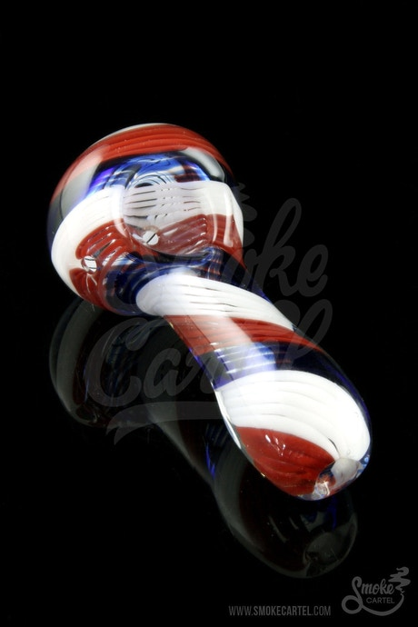 "Glassheads ""Yankee Doodle"" Patriotic USA Made Spoon - Smoke Cartel 